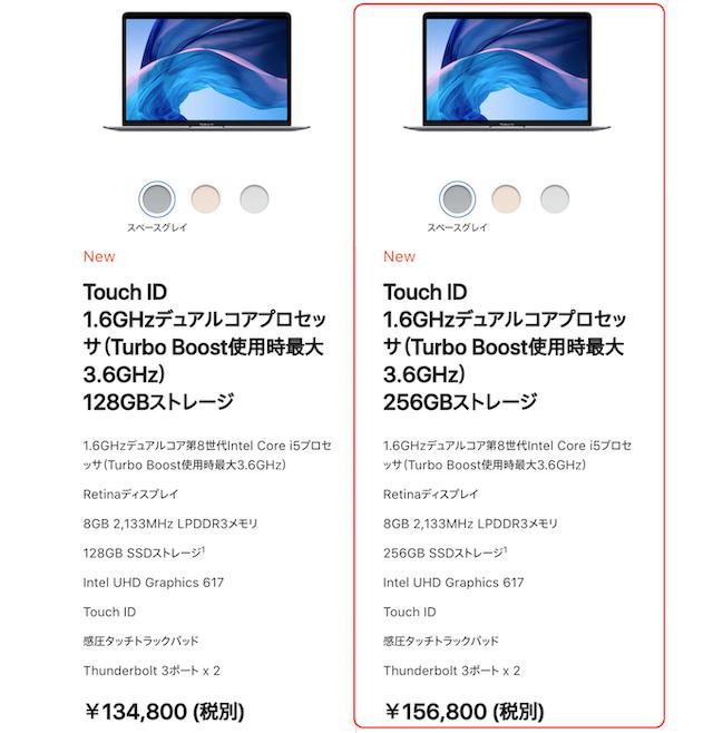 Macbook Air 13インチ 2018