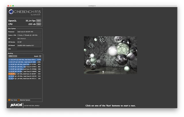 CINEBENCH Macbook Air 2018